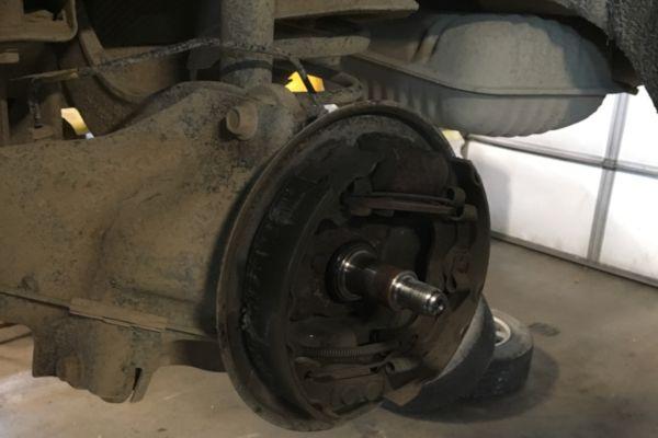2010 Ford Focus drum brake service in Lansing MI.