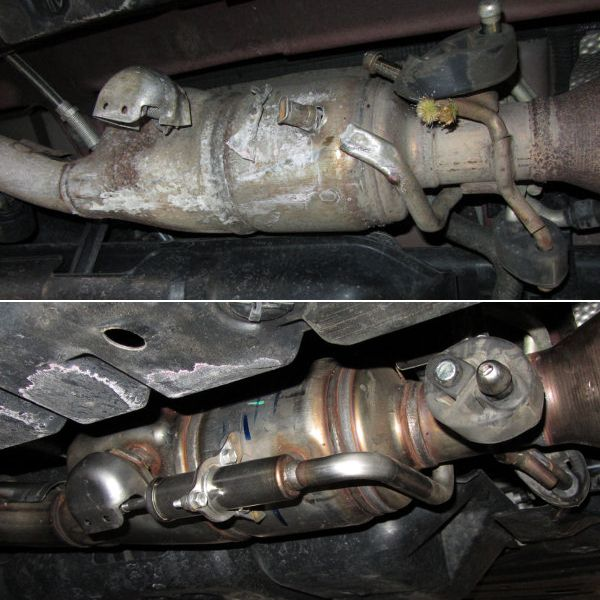 Before and after of pothole exhaust damage repair Lansing MI